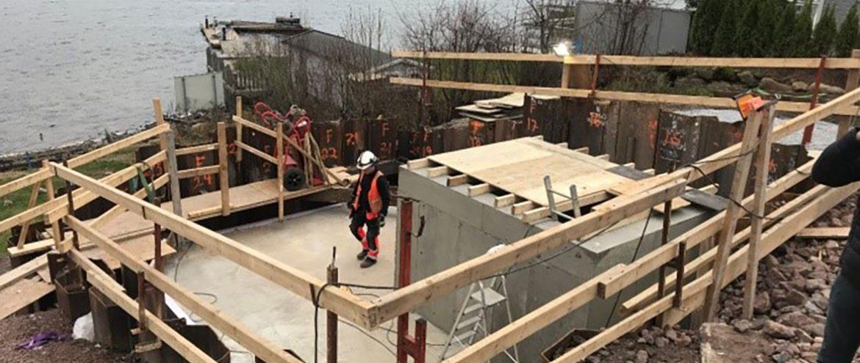 Vestfold Vann bygger nå ny kum ved Sjustok